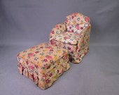 """Reserved for D - Vintage Miniature Dollhouse Furniture - Upholstered Chair and Ottoman - 3/4"""" to 1"""" Scale"""