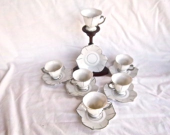 Vintage Cira 1950 Demitasse Cups and Saucers Japan Leaf Shaped Design Silver Trim Porcelain Home and Living Vintage Tea Cup Wooden Stand