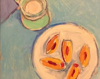 "Peaches and Cream - Original Acrylic Oil Encaustic Still Life Painting 10""x10""x 1"""