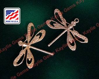 Exquisite Raw Brass Dragonfly Pierced Wing Filigree Stamping Victorian Style Made in USA - 1pcs
