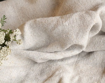 R 499 : antique handloomed  6.44 yards french 리넨  upholstering curtain projects twill looking texture PALE NATURAL