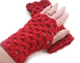 Red Crochet Fingerless Gloves - Red Arm Warmers - Red Crocheted Fingerless Mitts - Red Fingerless Gloves