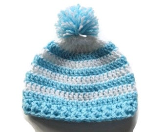 Ready To Ship Crochet Blue & White Striped Hat - Crochet Baby Beanie - Baby Boy Blue White Hat - Striped Pom-pom Hat  -  Size 3 to 6 Months