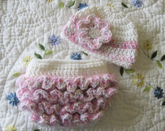 Ready To Ship - Crochet  Baby Hat and Ruffled Diaper Cover  - Size 0 to 3 Months - White & Pink Ruffled Photo Prop Baby Set - Newborn