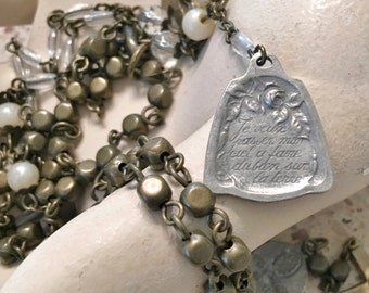 Rosary necklace recycled - Saint Theresa medal marked France - Vintage rosary medals - Crucifix Cross  - Religious - One of a Kind - bycat