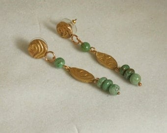 African Jade Earrings, Gold Boho Earrings, Green Dangle Earrings, Stud Earrings,