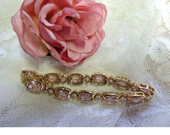 Gold Plated Sterling Silver Pink And Clear Crystal Tennis Bracelet, Yellow Gold Plated 925 Silver Bracelet, Bridesmaid Gift, REDuCED
