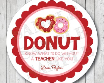 Donut Know What I'd Do Without You Valentine Labels, Teacher Valentine Stickers, Docut Valentine Tags . Choose Stickers or Tags