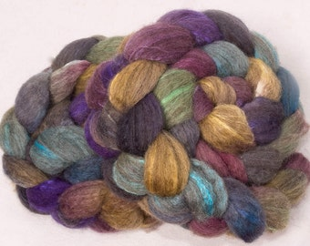 Hand painted Oatmeal BFL Tussah silk, Extra fine fibre, Hand dyed roving, felting , spinning wool, felting, Spinning wool, Colour; Imagine
