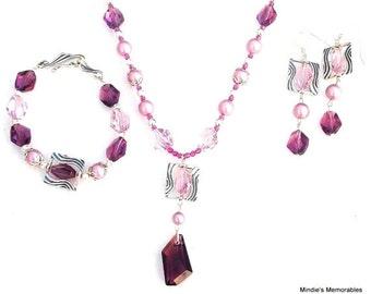Heirloom crystal and pearls set - amethyst and rose necklace, bracelet and earrings, antiqued sterling silver, Swarovski crystal set