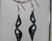 3D printed Stainless steel, twisting dangle black earrings with sterling silver earwires