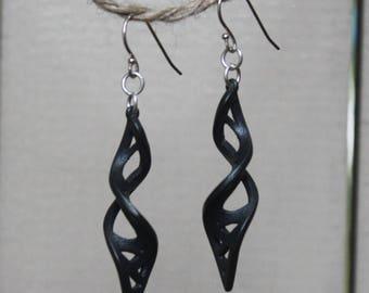 MADE TO ORDER. 3D printed steel earrings. 3D printed jewelry. Twisting dangling earrings. Sterling silver. Steel earrings. Long earrings