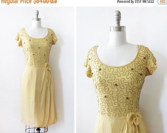 SALE yellow chiffon beaded dress, vintage 60s chiffon dress, medium 1960s party dress - AS IS