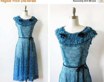 SALE 40s dress, vintage 1940s semi sheer swing dress, medium large dress
