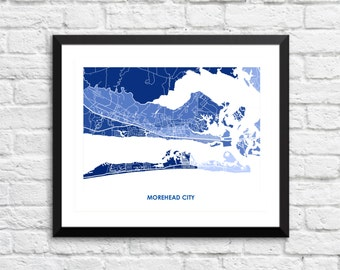 Morehead City Map Print.  Choose the Colors and Size.  North Carolina Beaches Art.