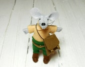 Miniature suede messenger shoulder leather totes bag handmade bag brown bag felt dollhouse woodland miniature mouse in matchbox animals fox
