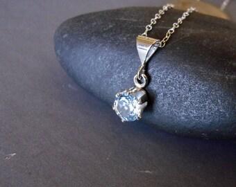 Sky Blue Topaz Necklace, Blue Topaz Sterling Silver Hand Forged Necklace, Natrual Topaz, Small Gemstone Necklace