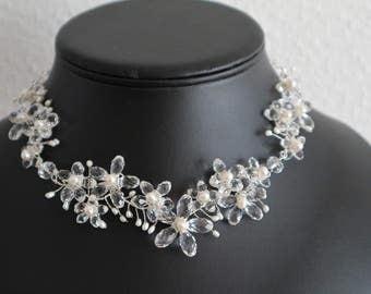 Silver Bib Necklace Precious Sakura Flowers - Sterling Silver