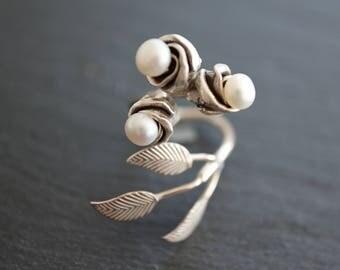 Silver Ring Elegant Rose - Sterling Silver