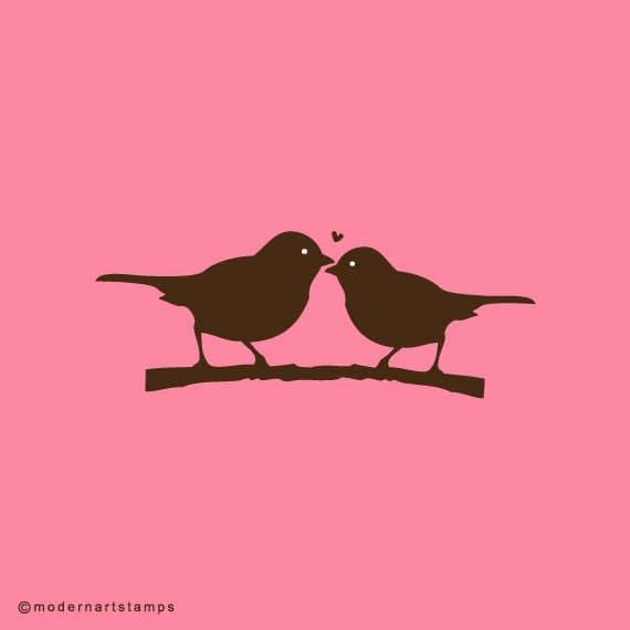 Love Birds Stamp   Birds in Love Stamp   Wedding Stamp   Rubber Stamp   A76