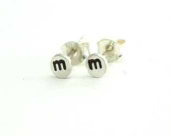 Sterling Studs, Silver Studs, Initial Studs, Custom Earrings, Sterling Silver Stud Initial Earrings, Personalized Stud Earrings. 1 Pair