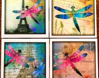 Dragonflies in Paris Coaster Set - Coasters - Dragonflies - Dragonfly - Ceramic Tile - Couples Gift - Set of 4