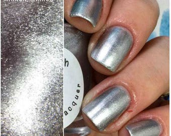 "Silver Metallic Aluminum Nail Polish - ""MIRROR, MIRROR"" - Hand Blended - 0.5 oz/15ml Full Sized Bottle"