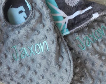 Baby Boy Bib OR Burp Cloth OR Make It A Set And Save Monogrammed Personalized Embroidered Custom Jungle Tales Topaz Minky