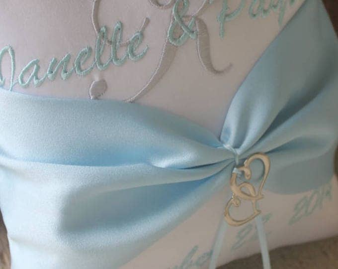 Wedding Ring Bearer Pillow Personalized Monogrammed Custom Wedding Decor Design Your Own Double Heart Charm Accent Light Blue Wedding