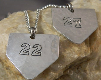 Baseball Home Plate with Custom Number Aluminum Necklace