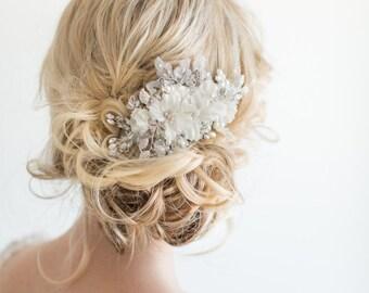 Bridal Hair Comb, Wedding Headpiece, Floral Crystal Hair Comb