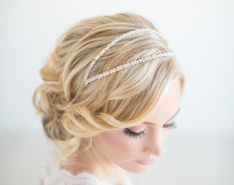 Bridal Headband, Crystal Double Headband, Wedding Headband, Wedding Tiara