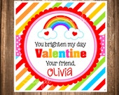 Printable Rainbow Valentines Day Gift Tags, Coloring Valentines, Rainbow Valentine, PRINTABLE Valentine Labels, Valentine Favor Tags