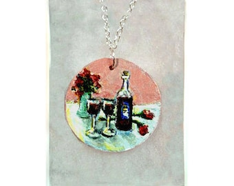 "PENDANT NECKLACES HANDPAINTED, 4 different one-of-a-kind originals, choose 18"" or 24"" chain"