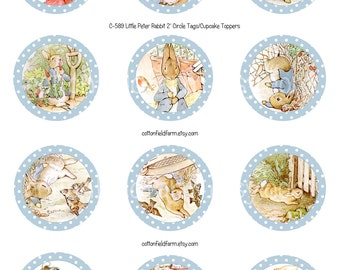 Little Peter Rabbit Digital Cupcake Toppers or Favor Tags, C-589 YOU PRINT