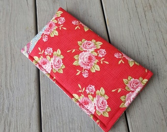 Eyeglass case - Tilda fabric in raspberry red with roses