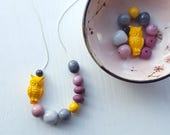 RESERVED for Cheryl - ash moon - necklace - vintage lucite - yellow grey purple - owl necklace