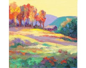 October Landscape, Original Small Painting, Impressionist Art, Hillside Scene, Fall Landscape, Warm autumn colors, Colorful Wall Art, 6 x 6