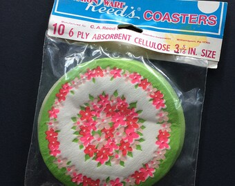 Unused Vintage Floral Paper Coasters Party Decor Fashion Ware Reeds Partyware Groovy Flower Power Mod Ephemera 1960s Original Package MCM