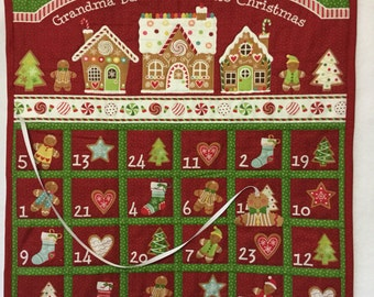 Advent Calendar Quilted, Christmas Countdown Calendar Gingerbread Village, Quilted Perpetual Calendar Wall Hanging, Countdown to Christmas