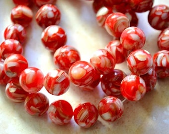 Red Mother of pearl beads 10 mm