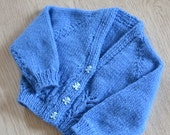 3 - 6  Months Baby Girls Bluebell Hand knitted Cardigan
