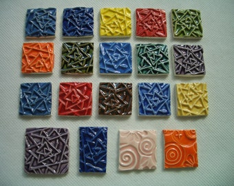 19IS  -  Colorful TRIANGLE Stamped SQUARES - Ceramic Mosaic Tiles