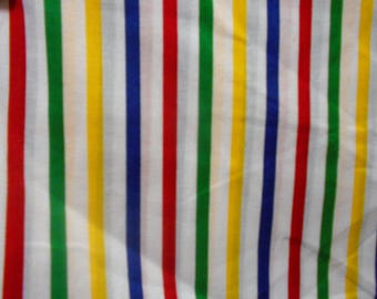 By the Yard Wide stripe cotton red blue yellow baby fabric 58 inch wide