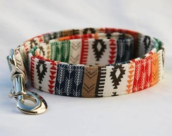 Southwest- Aztec-Navajo-Tribal Stripe- Green Red Orange Brown Stripe - Traffic Leash Medium to Large Breed Dogs