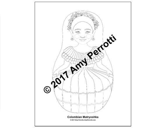 Colombian Matryoshka Coloring Sheet Printable file