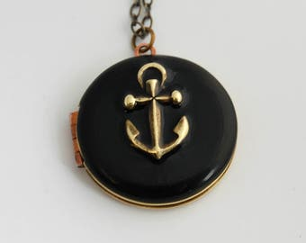 Anchor Necklace Locket Vintage Custom Enamel Jewelry Anchors Charms Nautical Wedding Weddings Ocean Sea Personalize Black Onyx  Unique Gifts