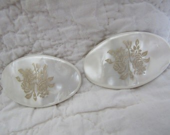 Vintage Shoe Clips White Acrylic with flowers Nice Style