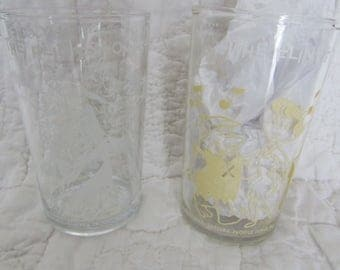 2 Vintage Flintstone Glasses 1962 Hanna Barbera Productions Inc. Fred and Barney
