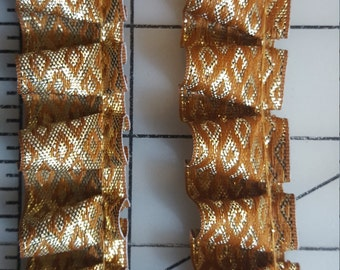 Gold Rust combination Metallic Pleated trim just over 2yd
